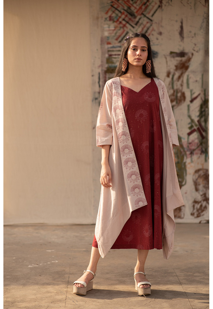 Maroon Dress with cover Up