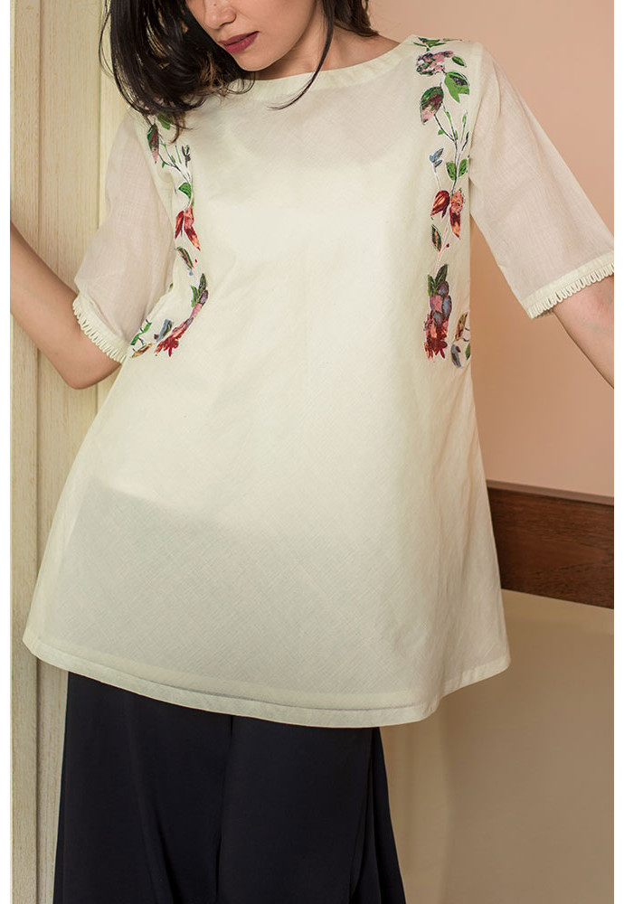 Bias Boat Neck Top - Off-White